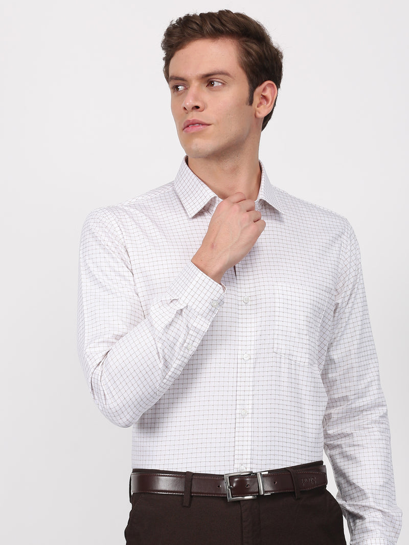 White Checked Long Sleeve Formal Shirt