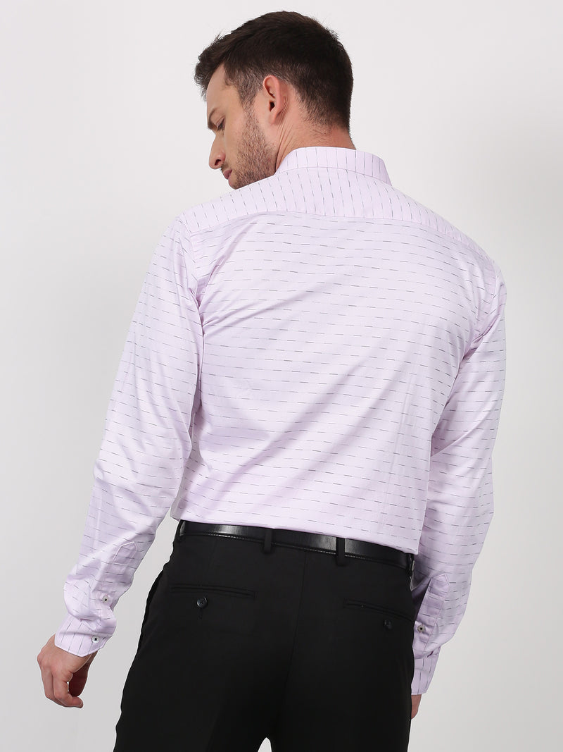 Pink Striped Long Sleeve Formal Shirt