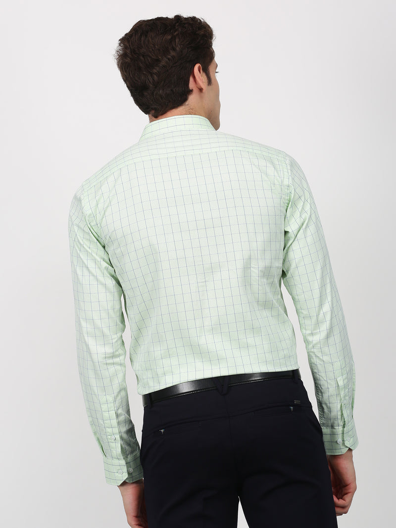 Green Checked Long Sleeve Formal Shirt