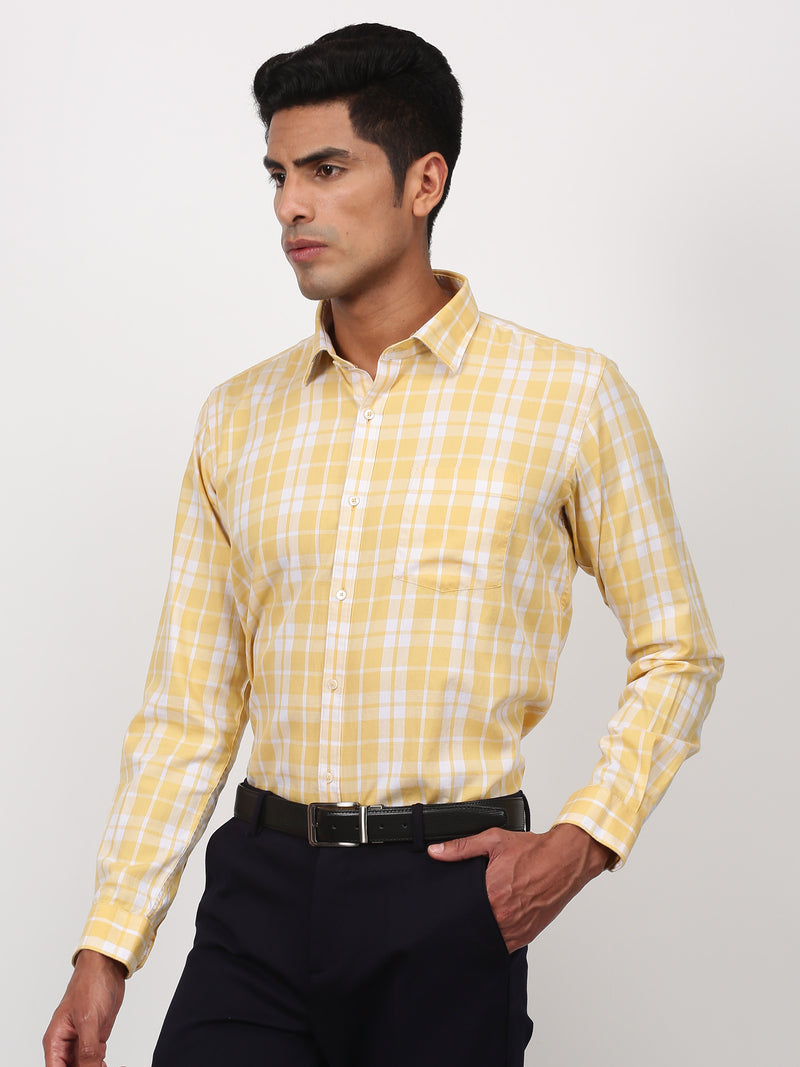 Khaki Checked Long Sleeve Business Casual Shirt