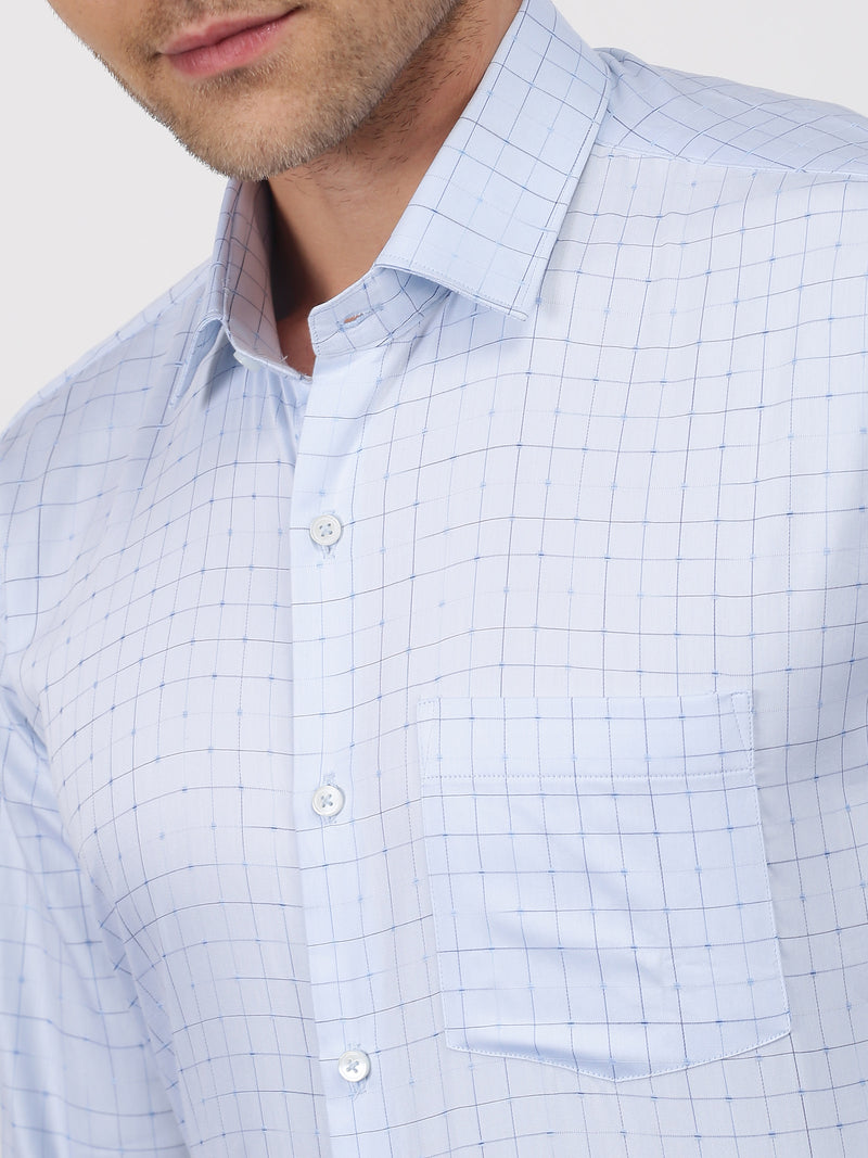 Blue Checked Long Sleeve Formal Shirt