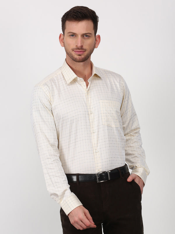 Yellow Checked Long Sleeve Formal Shirt
