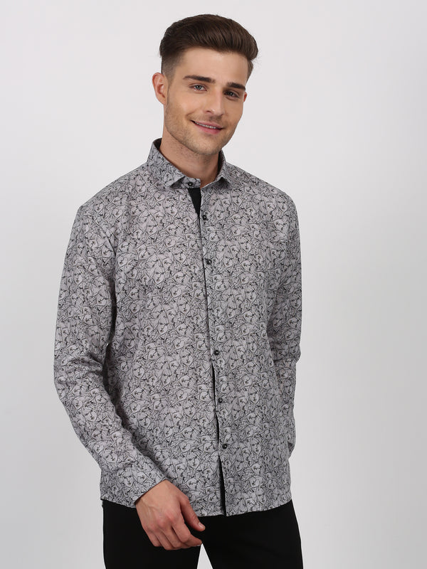 Black Printed Long Sleeve Party Wear Shirt