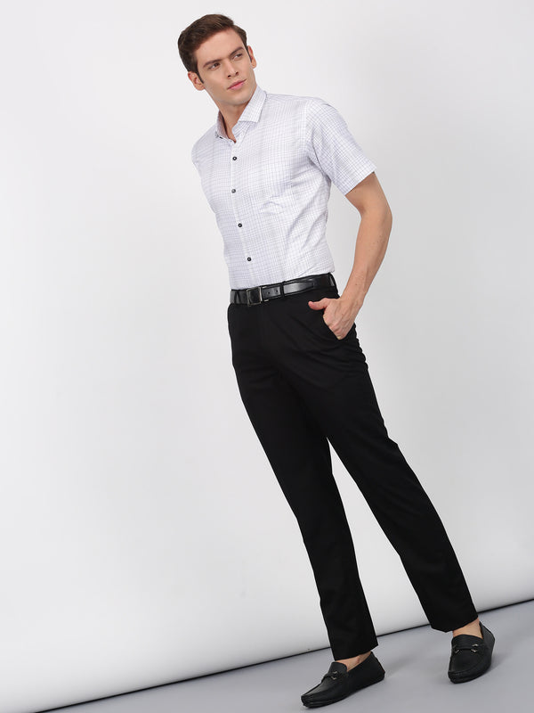 Black Checked Short Sleeve Formal Shirt