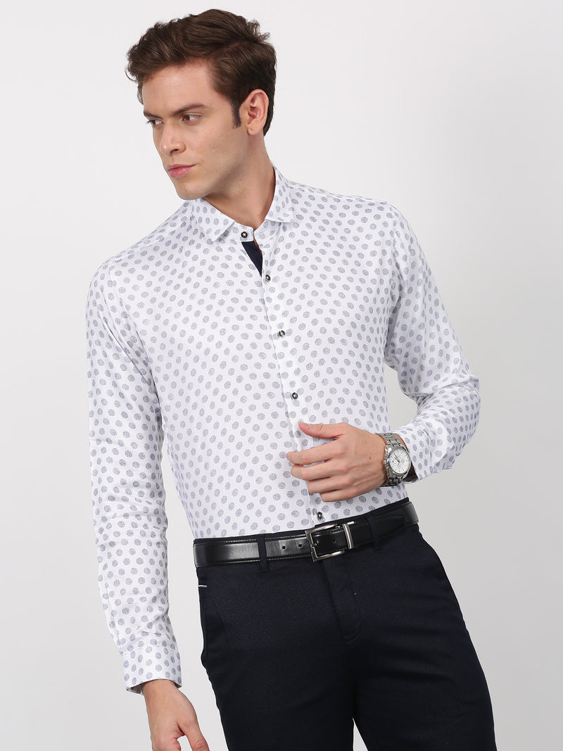 White Printed Long Sleeve Party Wear Shirt