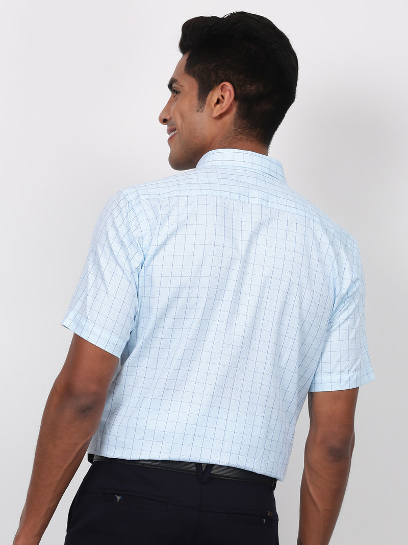 Blue Checked Short Sleeve Formal Shirt
