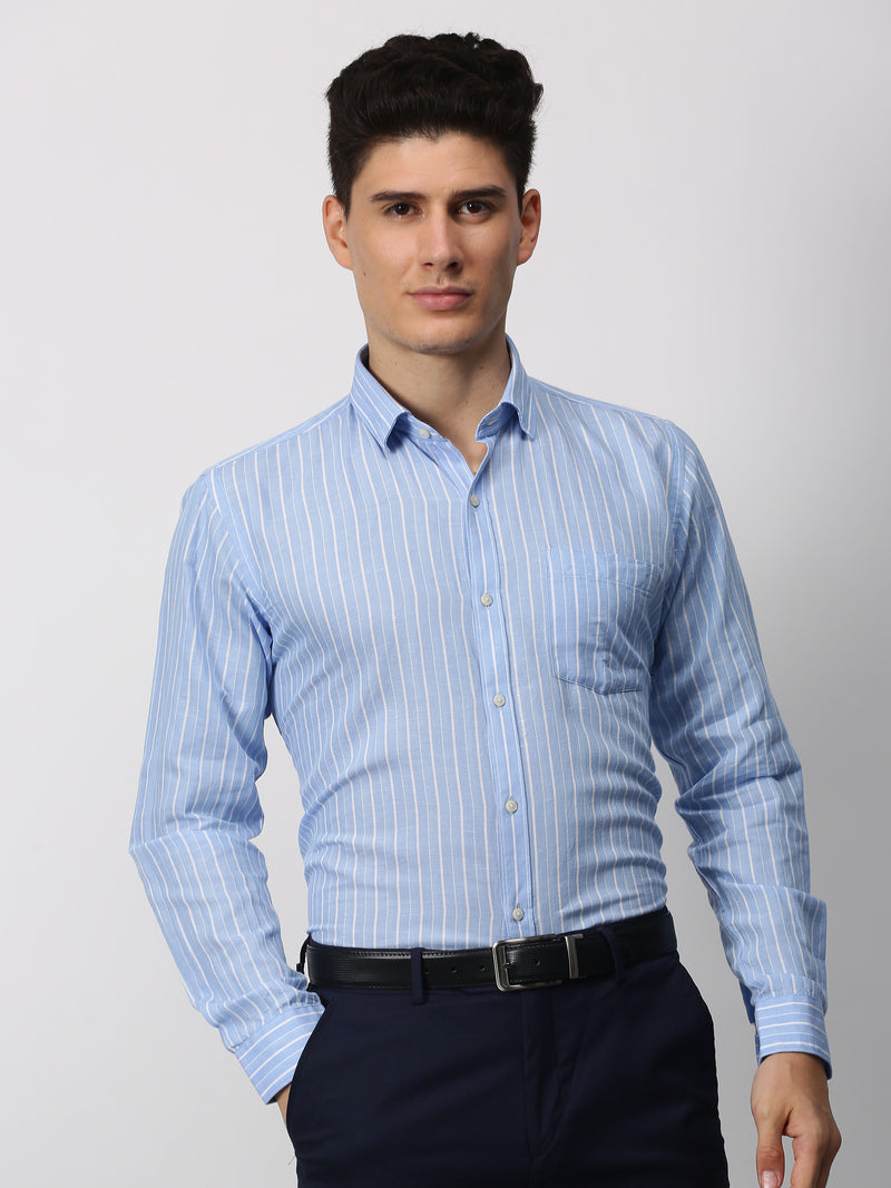 Blue Striped Long Sleeve Business Casual Shirt