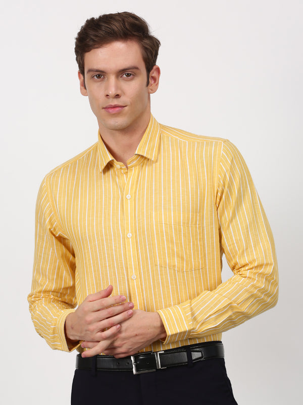 Yellow Checked Long Sleeve Business Casual Shirt
