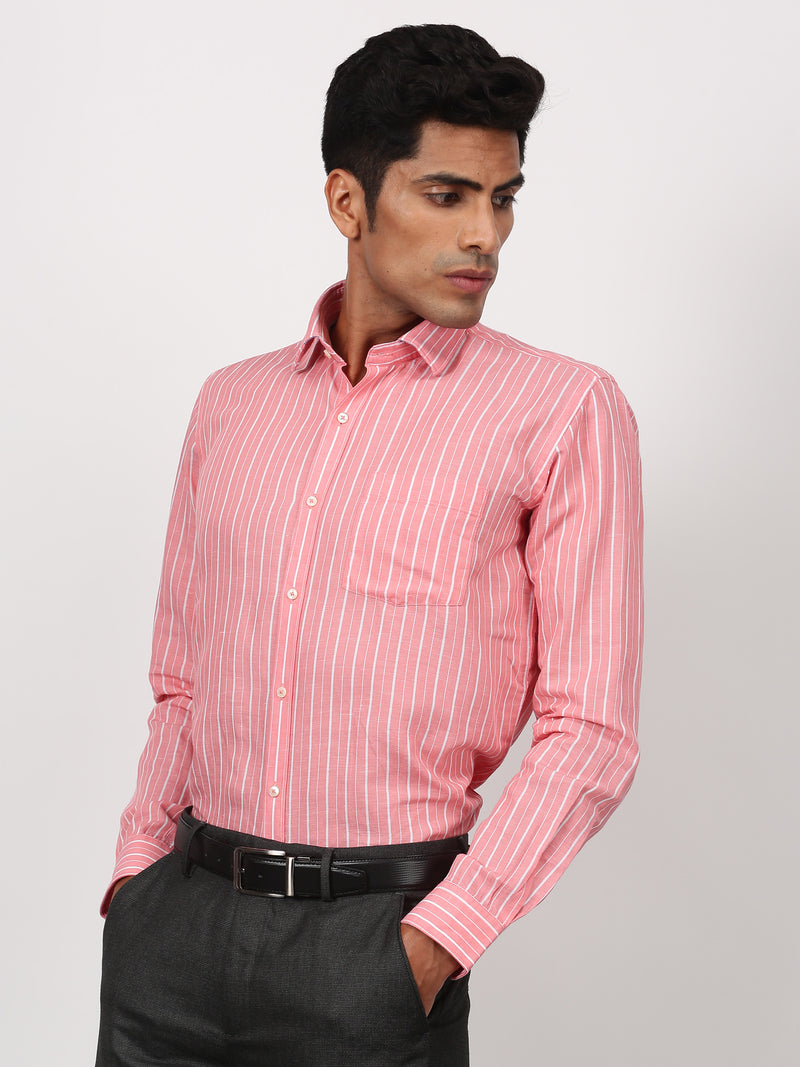 Red Striped Long Sleeve Business Casual Shirt