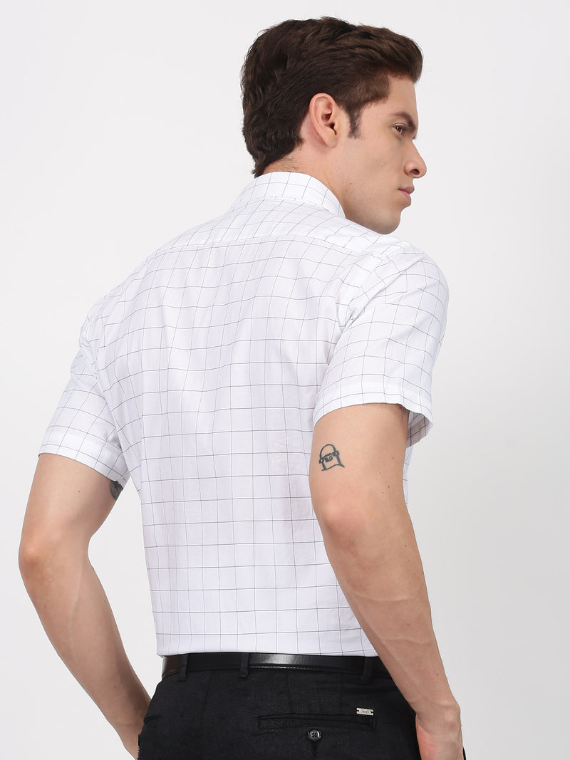 White Checked Short Sleeve Business Casual Shirt