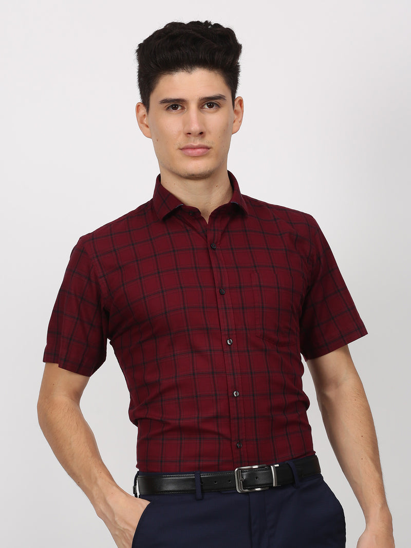 Red Checked Short Sleeve Business Casual Shirt
