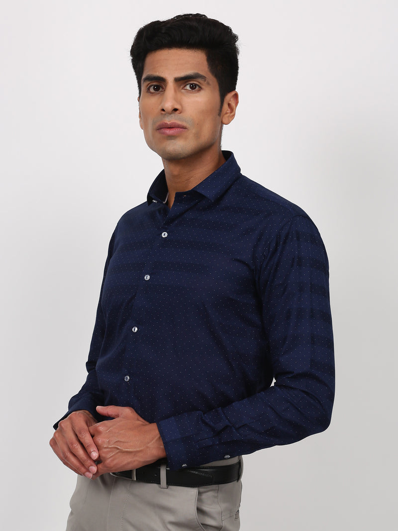 Navy Printed Long Sleeve Party Wear Shirt