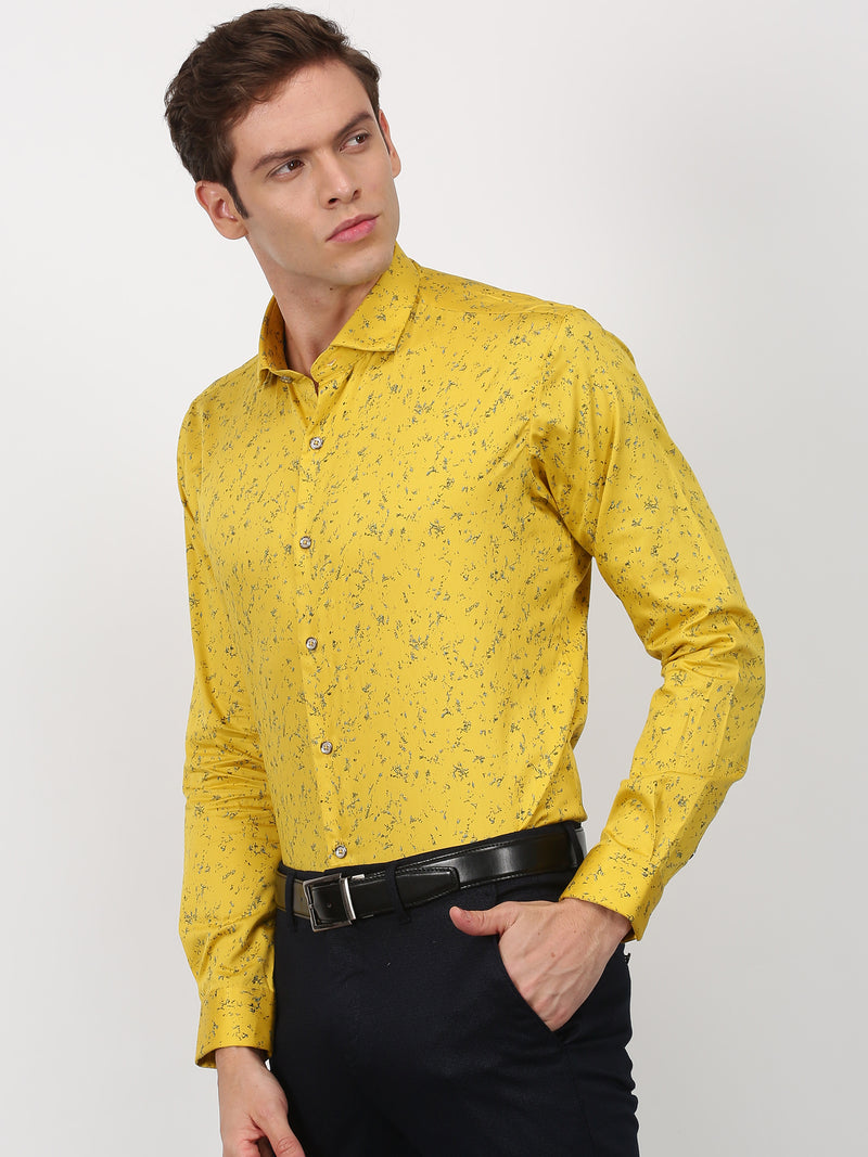 Yellow Printed Long Sleeve Party Wear Shirt