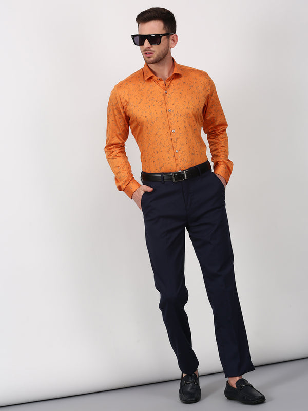 Orange Printed Long Sleeve Party Wear Shirt