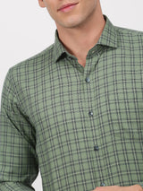 Green Checked Long Sleeve Business Casual Shirt