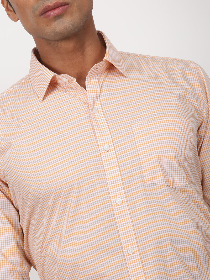 Orange Checked Long Sleeve Formal Shirt