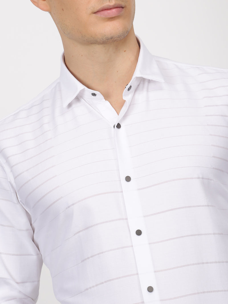 White Plain Long Sleeve Party Wear Shirt