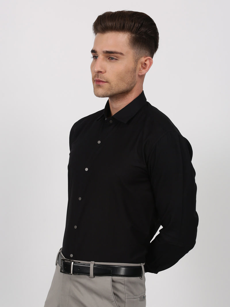 Black Plain Long Sleeve Party Wear Shirt