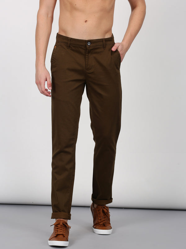 Brown Printed Lean Fit Trouser