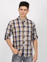 Brown Denim Checked  Casual Shirt