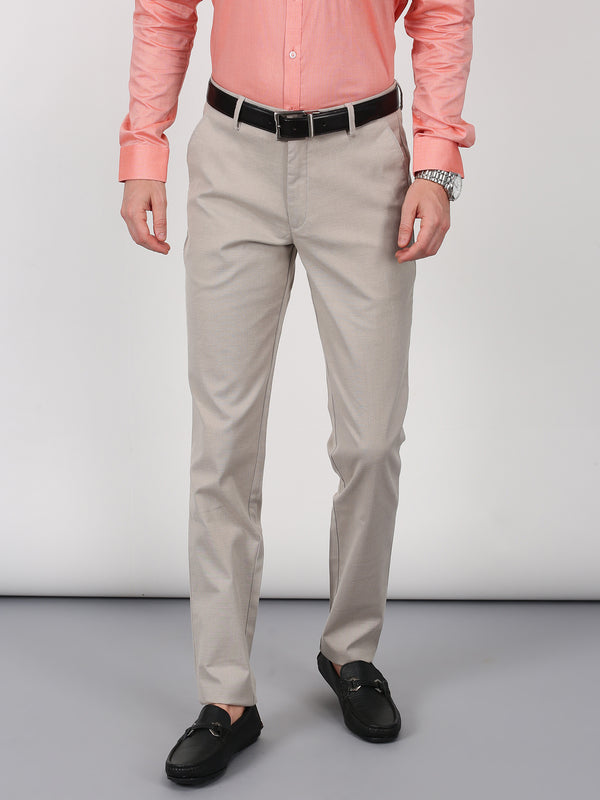Cream Checked Smart Fit Trouser
