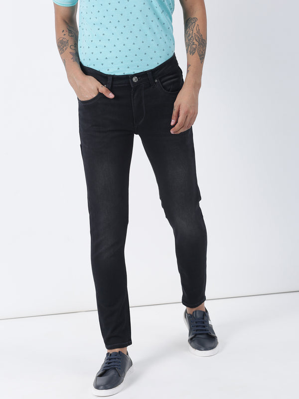 Charcoal Black Plain Ultra Slim Fit Jeans