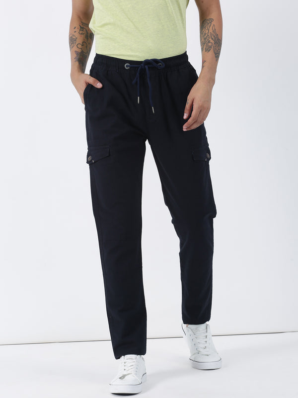 Navy Plain Casual Fit Cargo Trouser