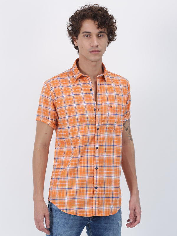 Orange Checked Short Sleeve Casual Shirt