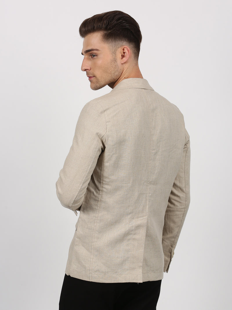 Cream Plain Linen Casual Blazer