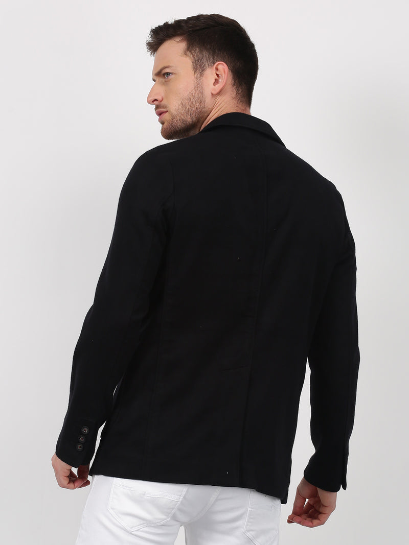Black Plain Stretch Casual Blazer