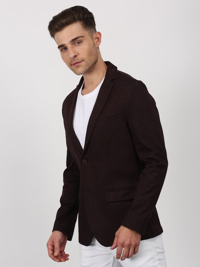 Maroon Plain Stretch Casual Blazer