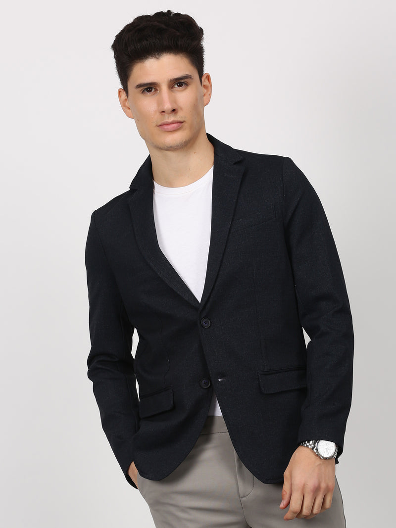 Navy Plain Stretch Casual Blazer