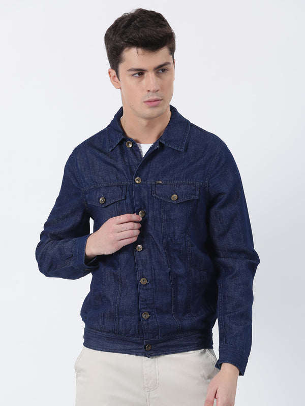 Blue Plain Denim Jacket