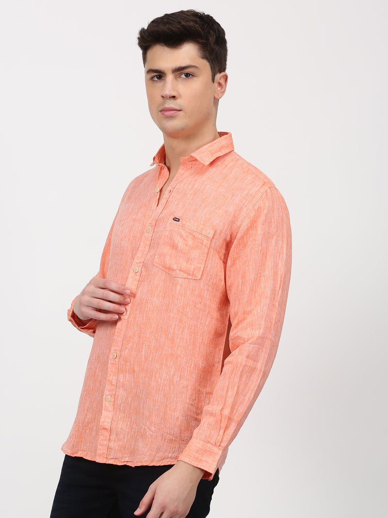 Orange Plain Long Sleeve Casual Shirt