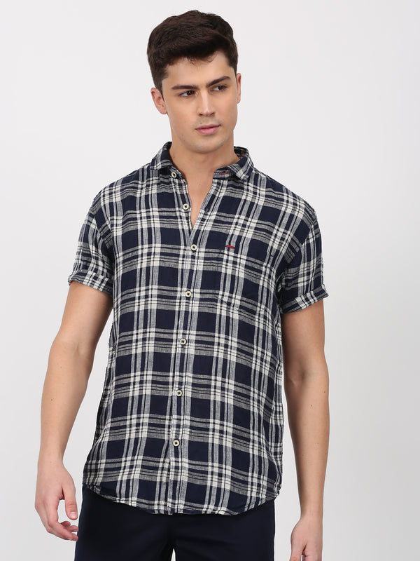 Blue Checked Short Sleeve Casual Shirt