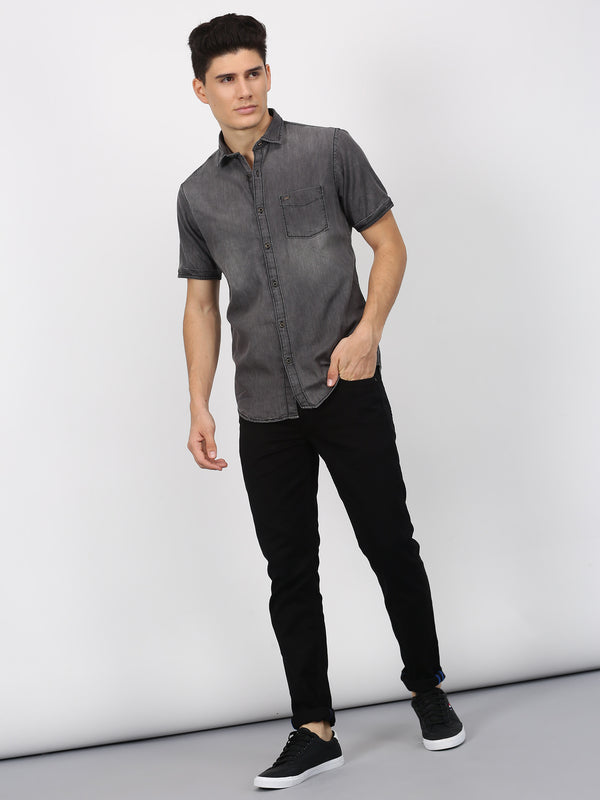 Grey Plain Short Sleeve Casual Shirt
