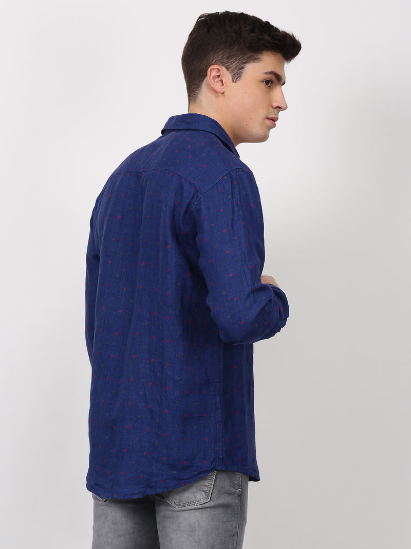 Navy Plain Long Sleeve Casual Shirt