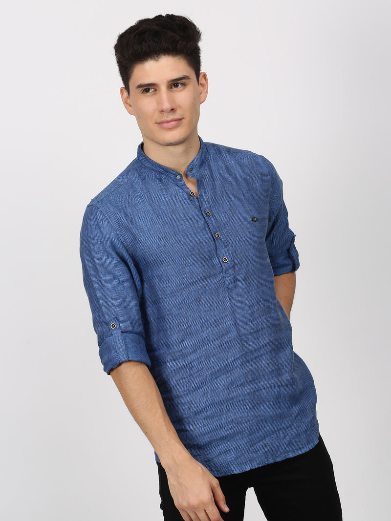 Blue Plain Long Sleeve Casual kurta