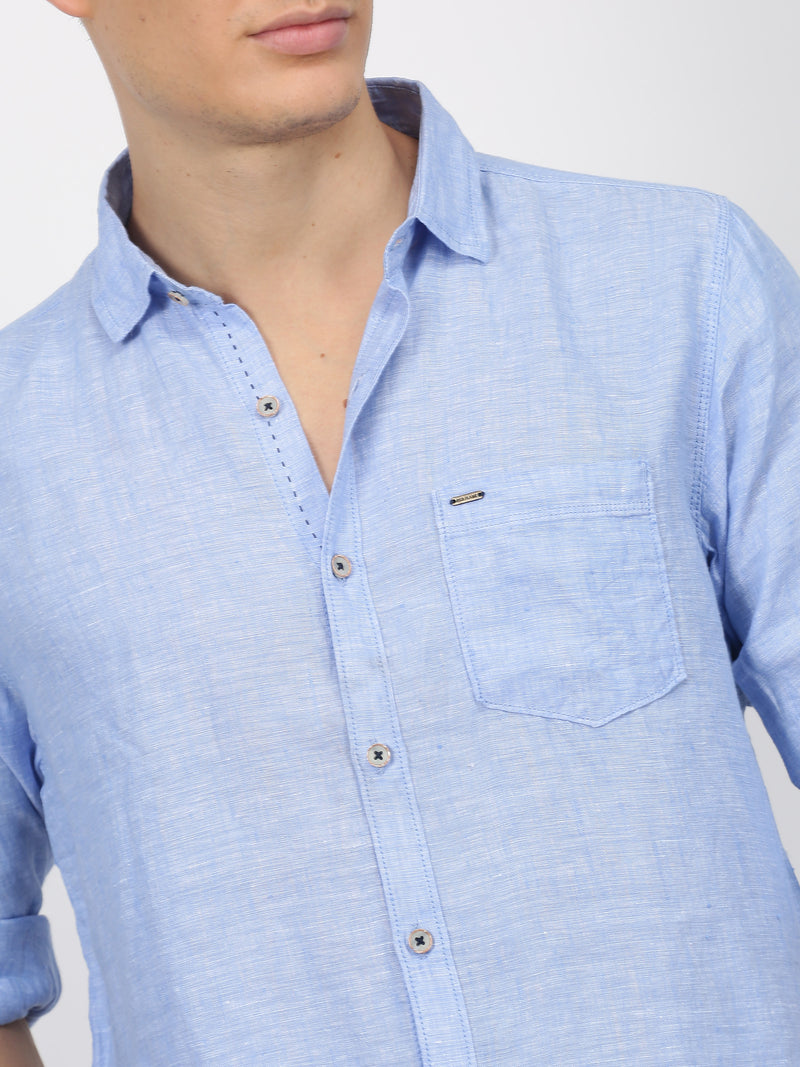 Blue Plain Long Sleeve Casual Shirt