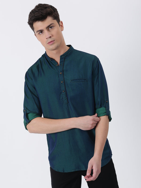 Green Plain Long Sleeve Casual Kurta