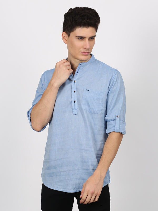 Light Blue Plain Long Sleeve Casual Kurta