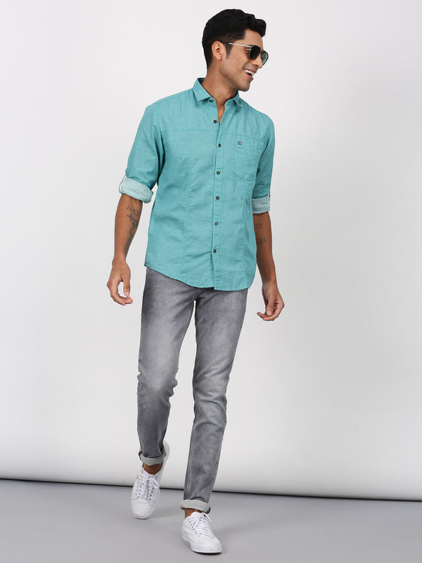 Green Plain Long Sleeve Casual Shirt