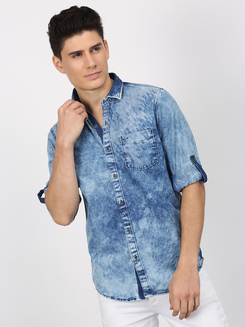 Blue Denim Printed  Casual Shirt