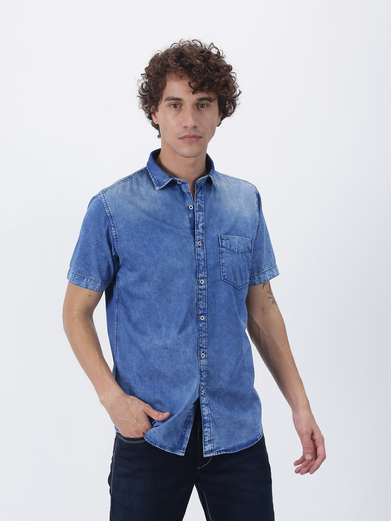 Blue Denim Plain  Casual Shirt