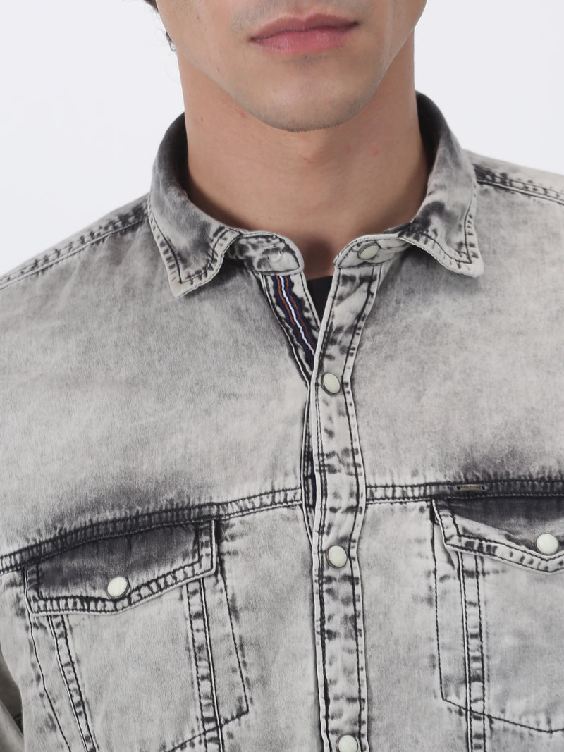 Black Denim Plain  Casual Shirt