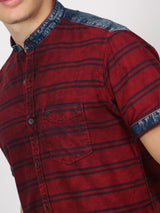 Red Striped Short Sleeve Casual Shirt
