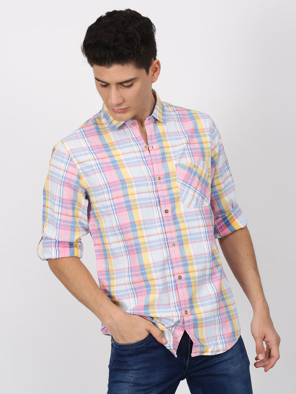 Pink Checked Long Sleeve Casual Shirt