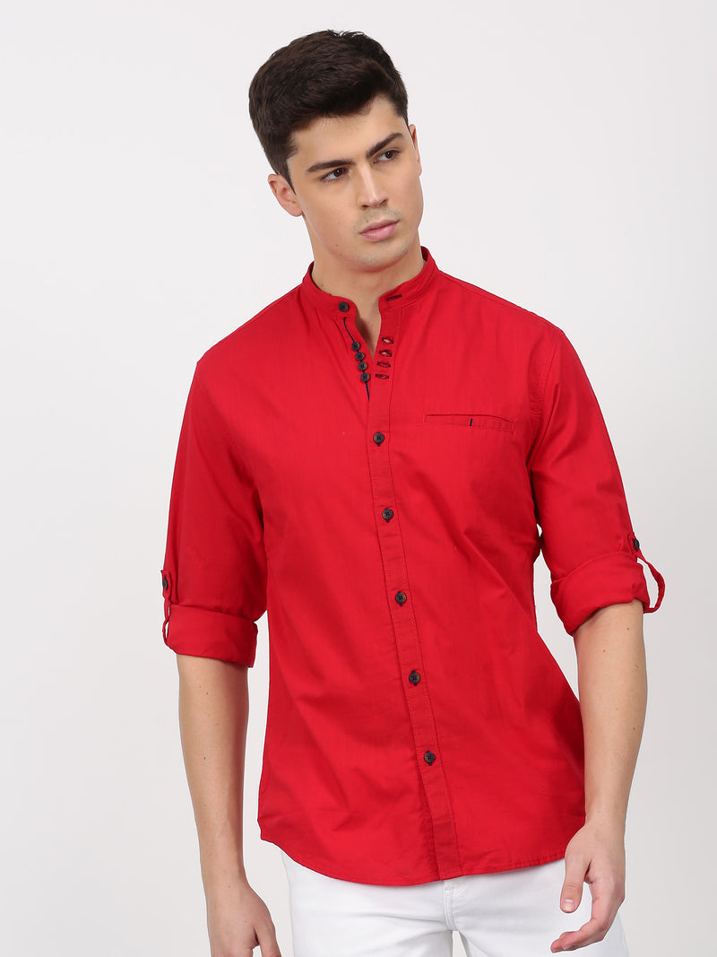 Red Plain Long Sleeve Casual Shirt