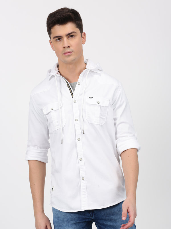 White Plain Long Sleeve Casual Shirt