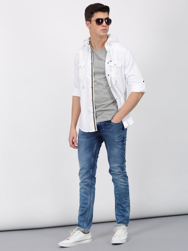 White Denim Plain  Casual Shirt